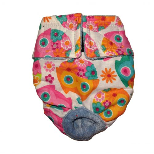pink owl and flower diaper