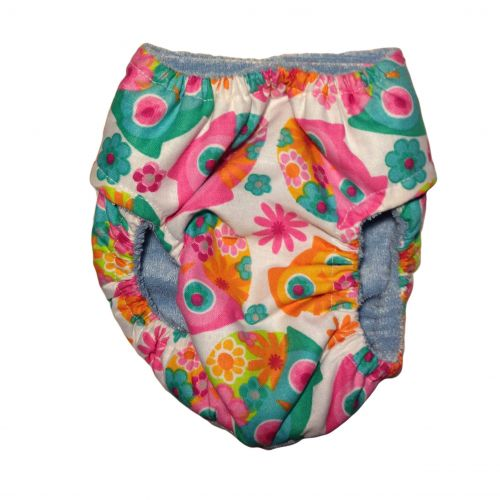 pink owl and flower diaper - back