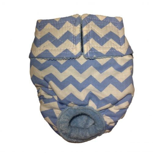 light blue chevron on white diaper