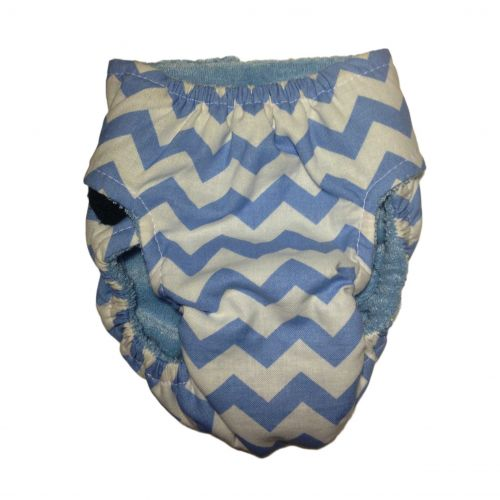 light blue chevron on white diaper - back
