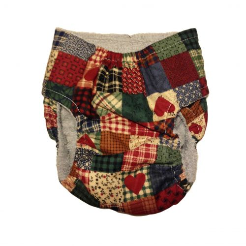 plaid and heart patch diaper - back