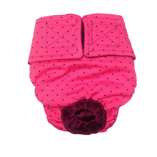 black polka dot on pink diaper