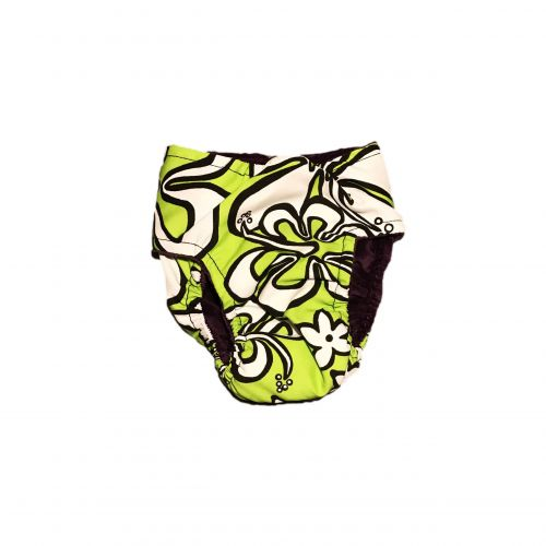 white hawaiian hibiscus on lime green diaper - back