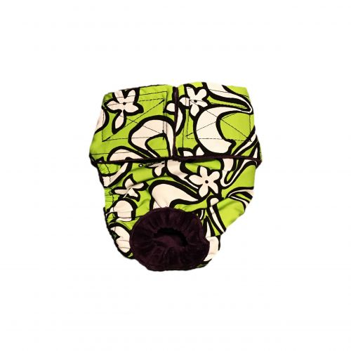 white hawaiian hibiscus on lime green diaper