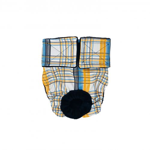 blue and yellow plaid diaper