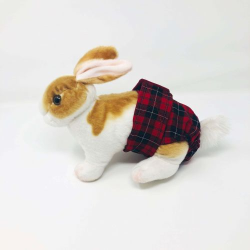 red plaid diaper - bunny