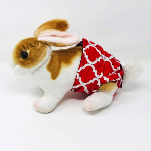 white quatrefoil on red diaper - bunny