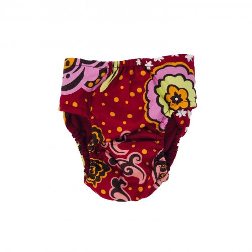 paradise flowers on red diaper - back